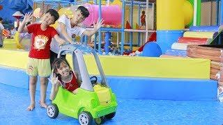 Kids Go To Indoor Playground Play Roller Coaster Ride | Kids Slide Home Balls w/ Children Song