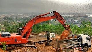 Máy xúc xúc đất lên xe ô tô tải | nhạc thiếu nhi remix | Excavator dump truck | children's music