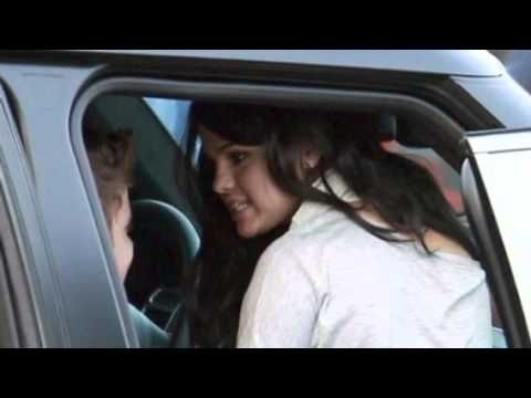Selena Gomez visits Justin Bieber on set of Boyfriend - April 21