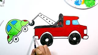 Tow truck drawing and coloring for kids. How to draw 견인차 그리기, 색칠하기