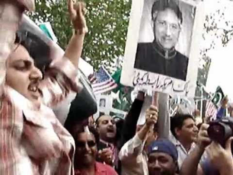 Pro and Anti Pervez Musharraf Rallies in Front of United Nations , new York
