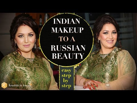 Indian Makeup To a Russian Beauty | Beautiful Party Makeup Tutorial 2018 | Krushhh by Konica