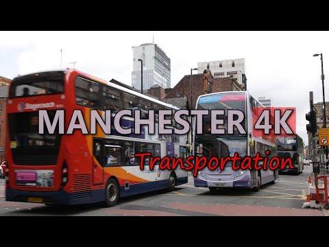 Ultra HD 4K Manchester Transportation Bus Metro Train UK Traffic Jam Travel UHD Video Stock Footage