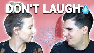 COUPLES TRY NOT TO LAUGH CHALLENGE! (WITH WATER)