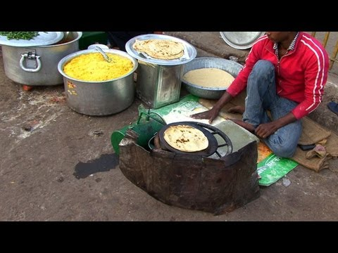 Indian Street Food in Old Delhi - Gali Paranthe Wali Naan Bread...