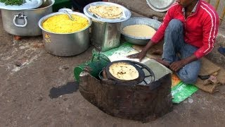 Indian Street Food in Old Delhi - Gali Paranthe Wali, Naan Bread and Spice Market