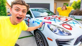 SPRAY PAINT TIC-TAC-TOE ON HER CAR!! (GONE WRONG)