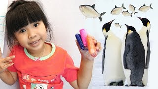 Trò Chơi Bé Bún Bé Bắp Khám Phá Thủy Cung và Xem Con Chim Cánh Cụt Ăn ♥CreativeKids ♥