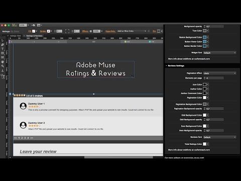 Ratings and Reviews Widget with Control Panel - Adobe Muse Tutorial