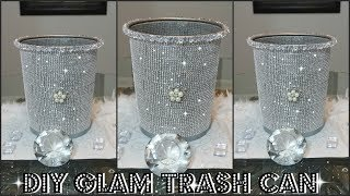 DIY DOLLAR STORE BLING TRASH CAN | DIY QUICK AND EASY ROOM DECOR IDEAS