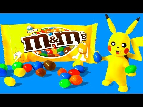 M & M Chocolate Candy & Pikachu! Kids Play Doh Stop Motion video - Baby Songs for Children