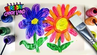 Learn Colors for Kids and Color Glitter Paint Flowers Coloring Pages