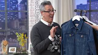 LOGO by Lori Goldstein Button-Front Denim Jacket with Raw Hem on QVC