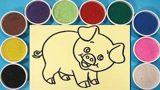Đồ chơi trẻ em TÔ  MÀU TRANH CÁT CON LỢN HỒNG - Colors sand painting pig toys (Chim Xinh)