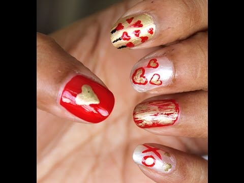 Valentine's Day inspired 5 different nail arts (Classic Red & Gold theme)