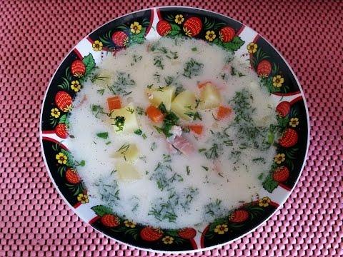 Ароматный супчик с копченым окорочком и плавленным сыром