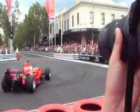 Ferrari formula one car on melbourne streets