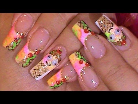 Silly Sherbert Icecream Cone Cutie Happy Face Nails