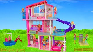 Barbie Dolls Unboxing: Dreamhouse Dollhouse w/ Bedroom, Doll Shower & Toy Vehicles for Kids