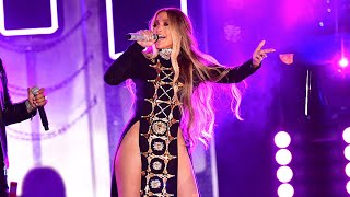Jennifer Lopez Stuns in Double Thigh-High Cutout Dress to Perform New Spanish Single