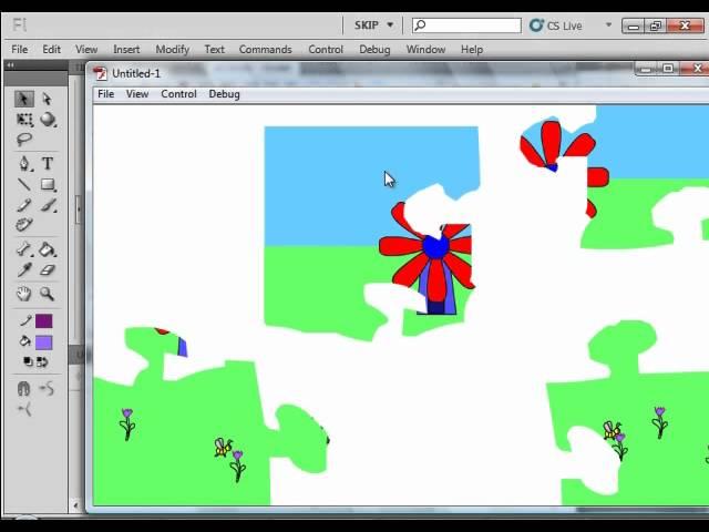 Flash CS5 Tutorial 37 Make Jigsaw Puzzle.avi