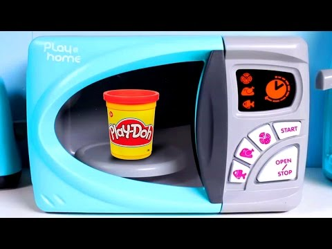 Play@Home Microwave Oven Toy Play-Doh Just Like Home Toy Cutting Food Cooking Playset Toy Videos