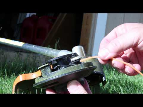Starting and running  Stihl FS 56-RC grass trimmer and changing line on C - 25 - 2 Auto cut head