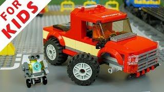 Cars and Trucks for kids . Lego Robot builds a red Car . Lego Speed Build