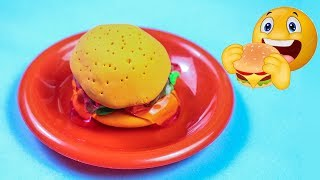 Learn Colors with play doh- SLIME kinetic sand foam clay make a BURGER