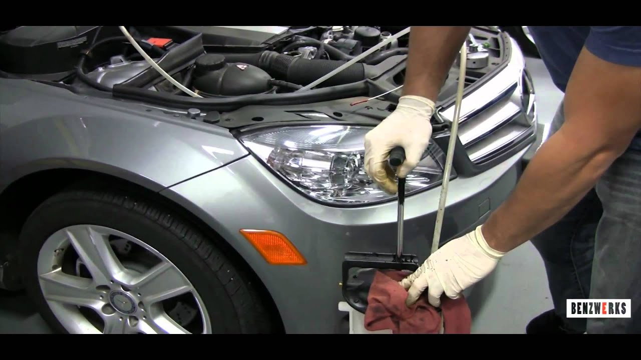 Benzwerks how to oil and filter change youtube for Mercedes benz oil change service