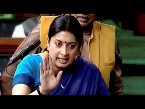 Smriti Irani Angry In Parliament : Disapproves Opposition Charge