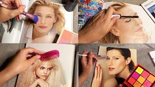 ASMR Applying Makeup to Magazines (Whispered)