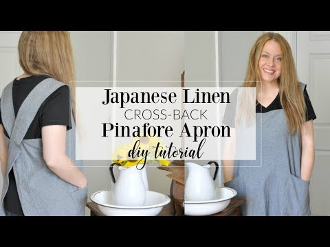 Japanese Linen Cross-Back Pinafore Apron Pattern Tutorial - YouTube