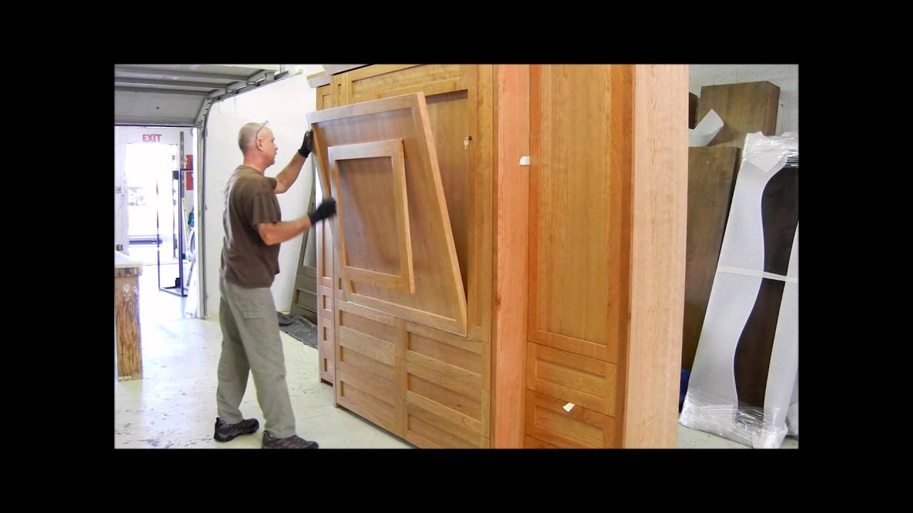 Murphy bed with table went to portland youtube for Diy fold down desk