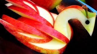 How to Make an Edible Apple Swan | Fruit Carving Garnish Карвинг из яблока. Food Decoration