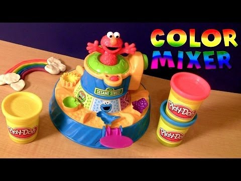 PLAY-DOH Elmo Color Mixer Playset Color Changers From Sesame Street With Cookie Monster n Big Bird