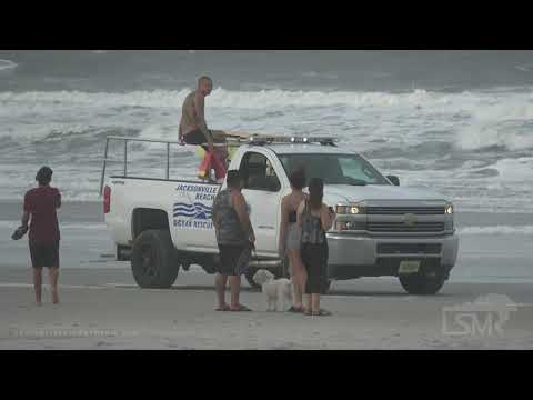9-3-19 Jacksonville Beach, Florida - People in the Beach - Winds Blowing Sand - Waves Crash on Pier