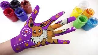 Bé Học Làm Họa Sĩ l Cách Vẽ Eevee (Pokemon) l Dạy Bé Học Màu Sắc bằng Tiếng Anh