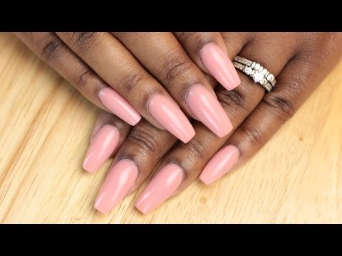 How to Simple Coffin Acrylic Nails - LongHairPrettyNails Pink Nude Acrylic Powder