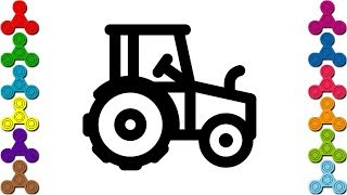 Cách vẽ Máy Cày | Tô màu Máy Xúc | How to draw Tractor  for kids
