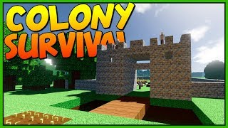 THE GREAT CITY STONE GATE - Building the City Walls - Let's Play Colony Survival Gameplay