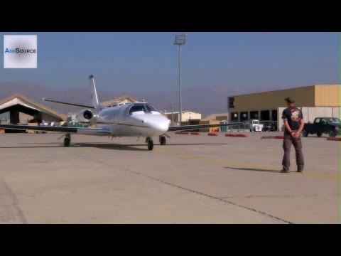Cessna Citation Taxis to the Runway & Takes Off. (Bagram Airfield, Afghanistan)