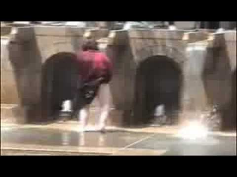 Woman Bathing In A Boston Fountain video
