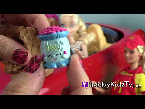 McDonalds SHOPKINS! Surprises, Mickey Mouse, Elsa, Barbie, Anna, Play-Doh Eggs by HobbyKidsTV