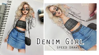 DENIM GIRL Speed Drawing