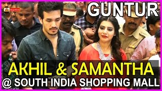AKhil & Samantha @ South Indian Shopping Mall Opening at Guntur