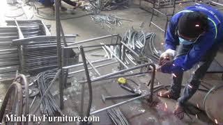 Video hướng dẫn ra mẫu bàn ghế sắt mỹ nghệ sơn tĩnh điện tại xưởng cơ khí Minh Thy Furniture.