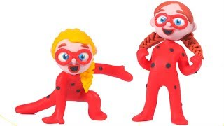 FUNNY KIDS HAVE LADYBUG COSTUMES ❤  Play Doh Cartoons For Kids