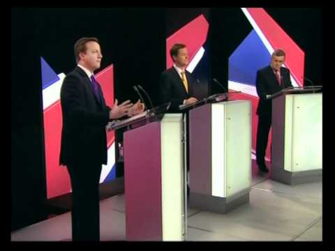 Pre-election 'debate' Brown, Cameron, Clegg, party leaders, Arnolfini, Bristol (22Apr10) 2of2