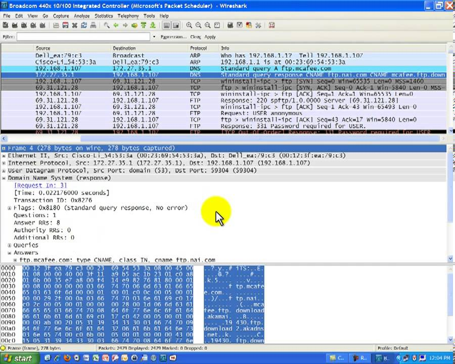 Wireshark Packet Capture on File Transfer Protocol - FTP